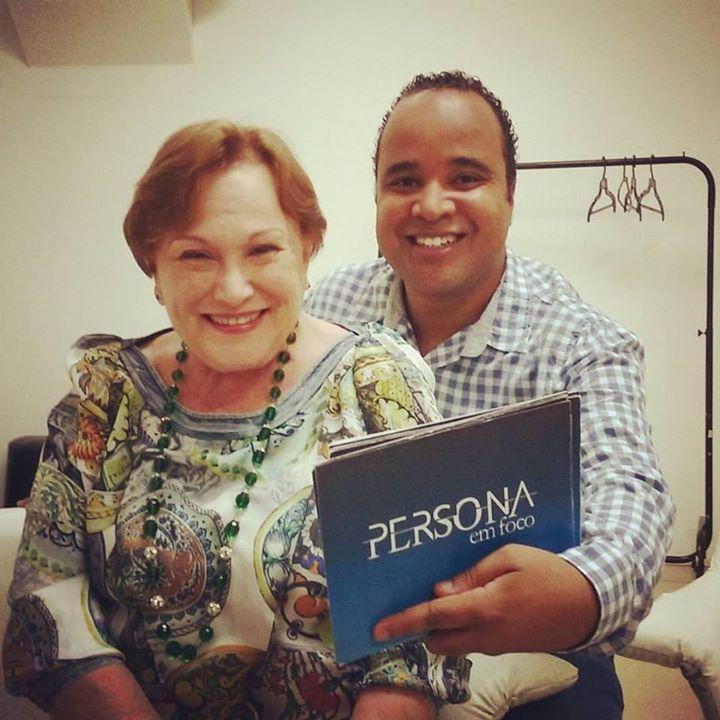 Nicette Bruno e Miguel Arcanjo Prado nos bastidores do Persona em Foco, da TV Cultura - Foto: Divulgação