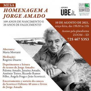 Flyer com informações do evento sobre Jorge Amado - Foto: Divulgação - Blog do Arcanjo - 2021